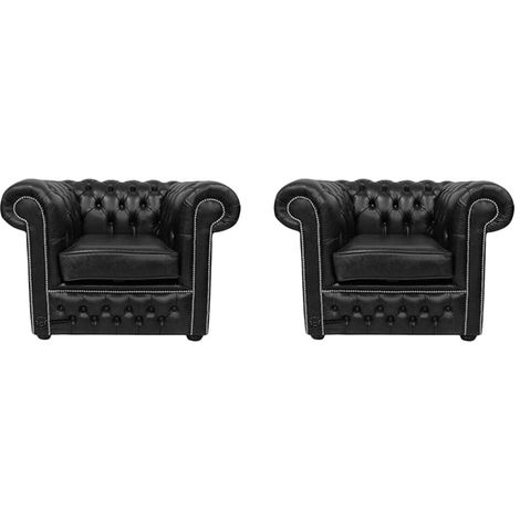 Chesterfield 2 x Club Chairs Old English Black Leather Sofa Offer