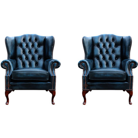Chesterfield 2 x Mallory Wing Chair Leather Sofa Suite Offer Antique Blue