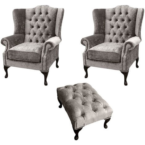 Chesterfield 2 x Mallory Wing Chairs + Footstool Boutique Beige Velvet Sofa Suite Offer