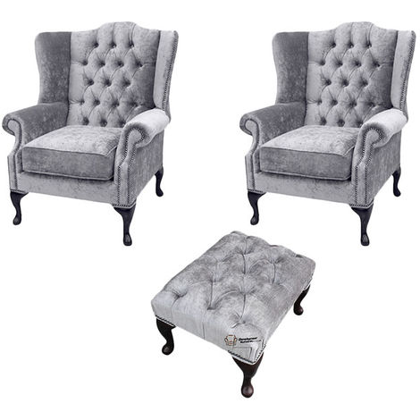 Chesterfield 2 x Mallory Wing chairs + Footstool Perla Illusions Velvet Sofa Suite Offer