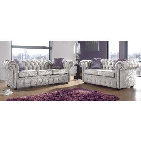 Chesterfield 3+2 Seater Sofa Suite Shimmer Mink Velvet