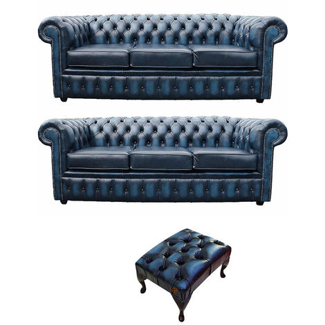 Chesterfield 3+3+footstool Leather Sofa Offer antique Blue leather