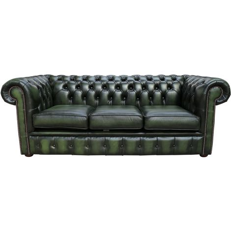 Chesterfield 3 Seater Antique Green Leather Sofa Offer