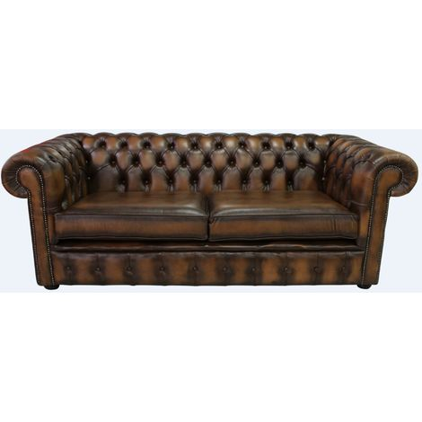 Chesterfield 3 Seater Antique Tan Leather Sofa 2 Cushion Style