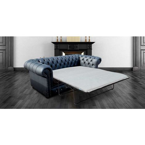 Chesterfield 3 Seater Black Leather SofaBed Grey Buttons Offer