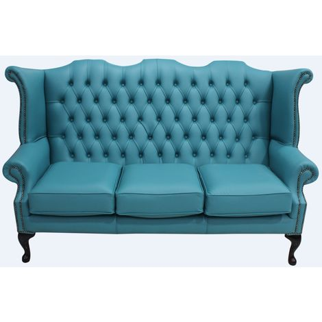 Chesterfield 3 Seater Queen Anne High Back Wing Sofa Dark Teal Leather