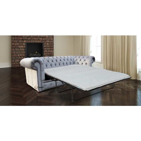Chesterfield 3 Seater Settee Perla Illusions Grey Velvet SofaBed Offer
