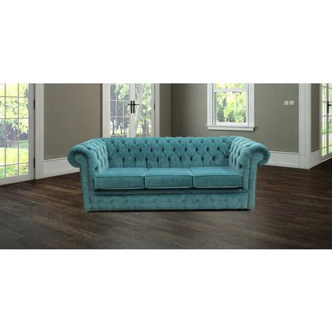 """main image of """"Chesterfield 3 Seater Settee Pimlico Teal Blue Sofa Offer"""""""