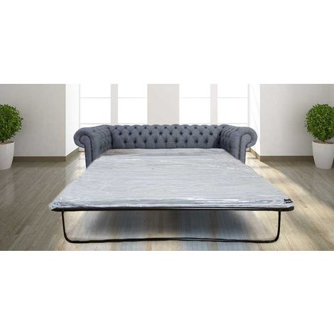 Chesterfield 3 Seater Settee Zoe Granite Grey Fabric SofaBed Offer