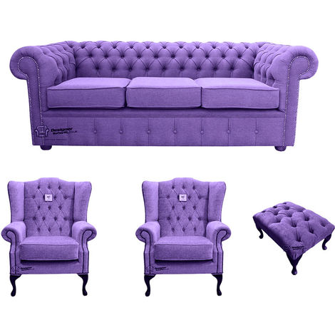 Chesterfield 3 Seater Sofa + 2 x Mallory Wing Chairs + Footstool Verity Purple Fabric Sofa Suite Offer