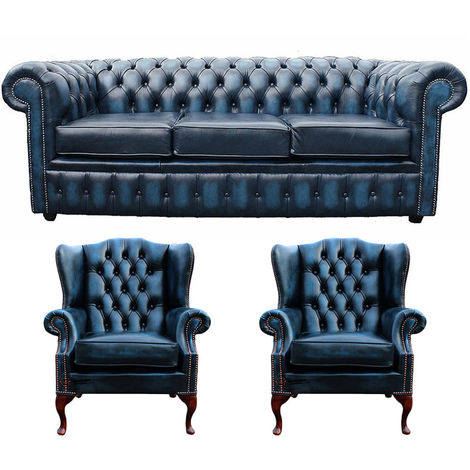 Chesterfield 3 Seater Sofa + 2 x Mallory Wing Chairs Leather Sofa Suite Offer Antique Blue