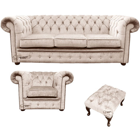 Chesterfield 3 Seater Sofa + Club Chair + Footstool Harmony Ivory Velvet Sofa Suite Offer