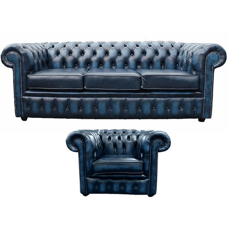 Chesterfield 3 Seater Sofa + Club Chair Leather Sofa Suite Offer Antique blue