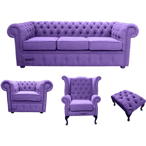 Chesterfield 3 Seater Sofa + Club Chair + Queen anne chair+Footstool Verity Purple Fabric Sofa Suite Offer
