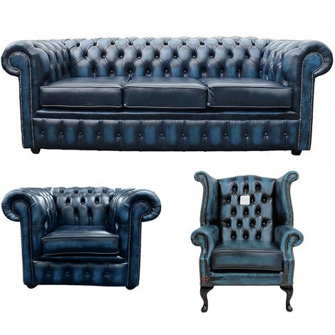 Chesterfield 3 Seater Sofa + Club Chair + Queen Anne Wing Chair Leather Sofa Suite Offer Antique blue