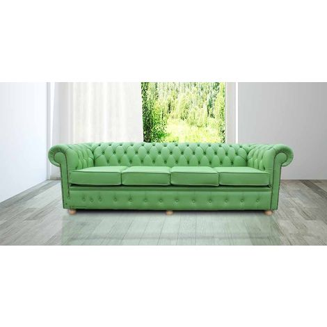 Chesterfield 4 Seater Settee Apple Green Leather Sofa Offer