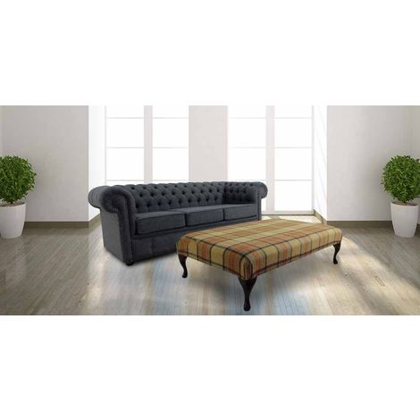 Chesterfield Arnold Wool 3 Seater Sofa Settee Glamis Glacier Grey + Footstool Beningborough Goldcrest