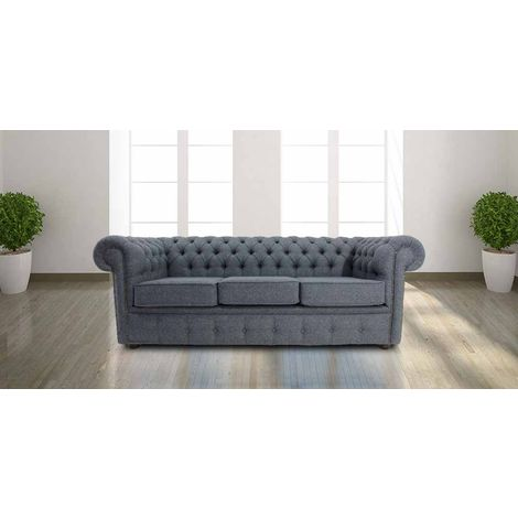 Chesterfield Arnold Wool 3 Seater Sofabed Grey Wool | DesignerSofas4U