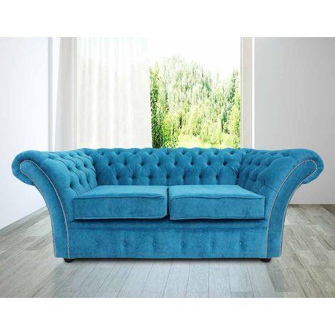 Chesterfield Balmoral 2 Seater Sofa Settee Danza Teal Fabric