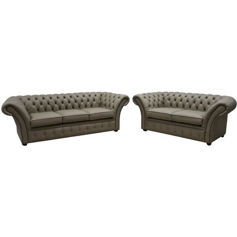 Chesterfield Balmoral 3+2 Seater Shelly Pebble Leather Sofa Offer