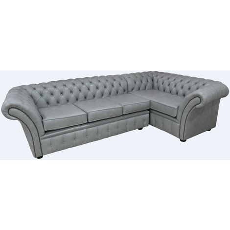 Chesterfield Balmoral Corner Sofa Unit Square Cushioned 3 Seater + Corner + 1 Seater Stella Dove Grey Leather