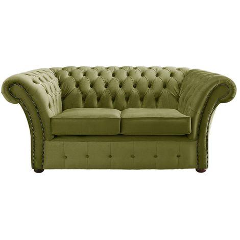 Chesterfield Balmoral Velvet Fabric Sofa Malta Grass Green 2 Seater