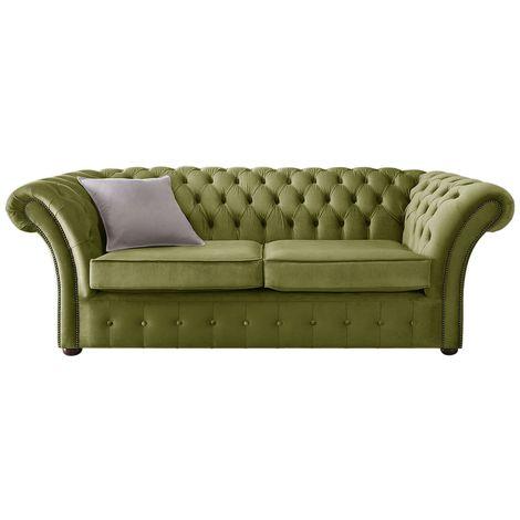 Chesterfield Balmoral Velvet Fabric Sofa Malta Grass Green 3 Seater