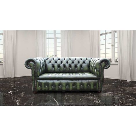 Chesterfield Belgravia 2 Seater Settee Sofa Buttoned Seat Antique Green Leather