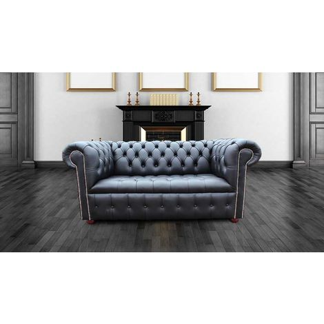 Chesterfield Belgravia 2 Seater Settee Sofa Buttoned Seat Black Leather Silver Studding