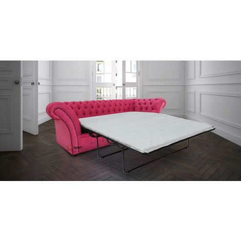 Chesterfield Calvert 3 Seater Sofabed Settee Azzuro Fuchsia Pink Red Fabric