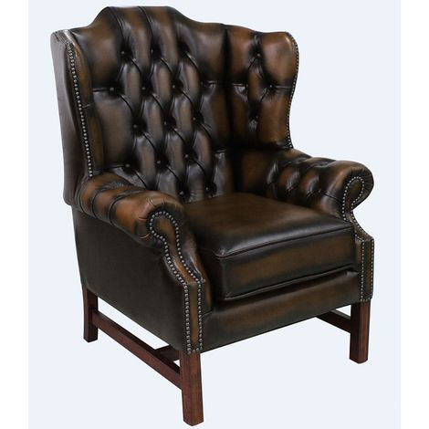Chesterfield Churchill High Back Wing Chair Cushioned Seat Antique Tan Leather