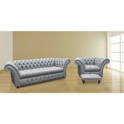 Chesterfield Cliveden 3 Seater + Armchair + Footstool Sofa Settee Buttoned Seat Silver Grey Leather