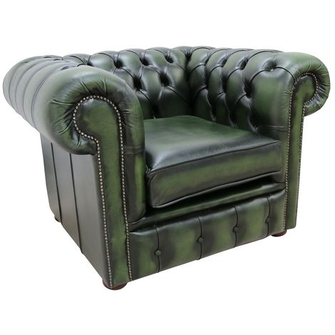 """main image of """"Chesterfield Club Chair Antique Green Leather"""""""