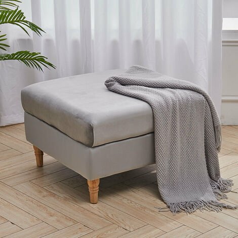 Chesterfield Coffee Table Seat Pouffe Stool Grey Velvet Footstool