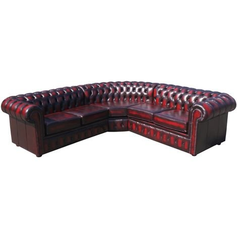 Chesterfield Corner Sofa 2 Seater + Corner + 2 Seater Antique Oxblood Leather