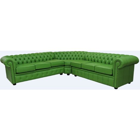 Chesterfield Corner Sofa Unit 7 Seater Apple Green Leather Cushioned