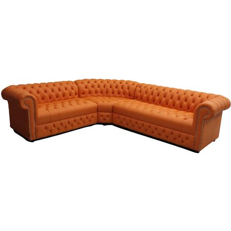 Chesterfield Corner Sofa Unit Buttoned Seat 3 Seater + Corner + 2 Seater Mandarin Orange Leather
