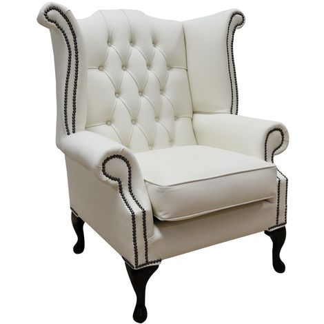 Chesterfield Cream Leather Wing Chair