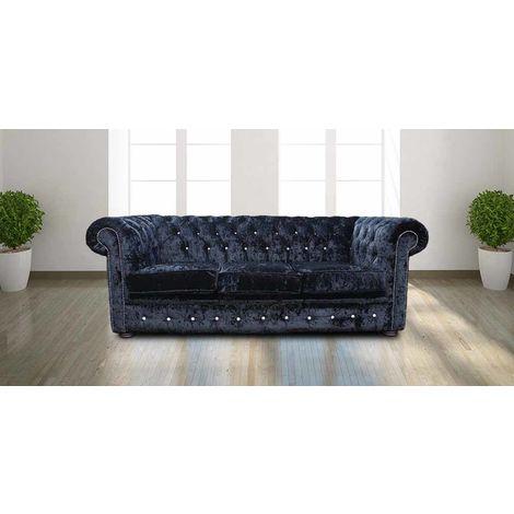 """main image of """"Chesterfield Crystal Diamond 3 Seater Black Velvet Sofa Offer"""""""