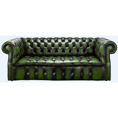 Chesterfield Darcy Sofa 3 Seater Antique Green Leather