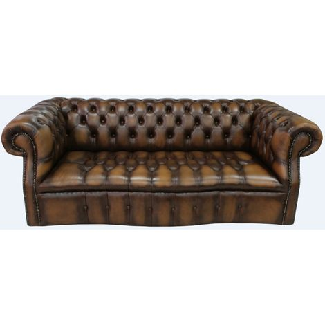 Chesterfield Darcy Sofa Settee 3 Seater Antique Tan Leather