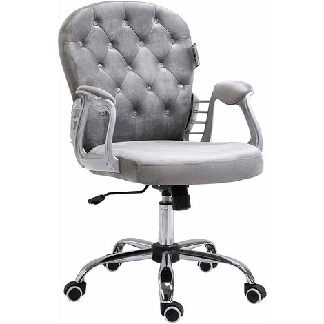 Chesterfield Diamante Button Swivel Chair with Chrome Feet