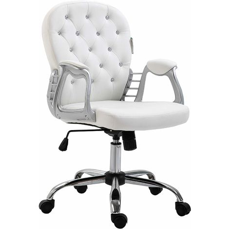 Chesterfield Diamante Button Swivel Chair with Chrome Feet