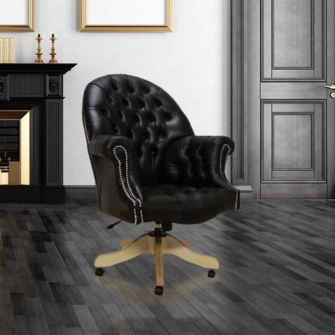 Chesterfield Directors Leather Office Chair Old English Black Silver Studding
