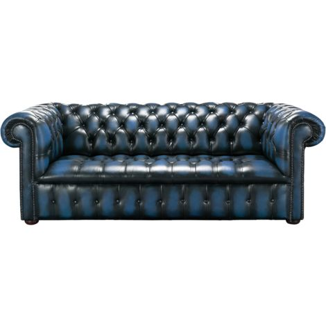 Chesterfield Edwardian 3 Seater Buttoned Seat Sofa Antique Blue Leather