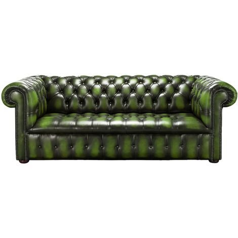 Chesterfield Edwardian 3 Seater Buttoned Seat Sofa Antique Green Leather