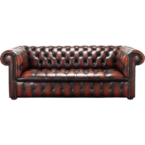 Chesterfield Edwardian 3 Seater Buttoned Seat Sofa Antique Light Rust Leather