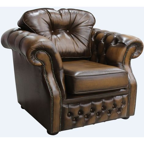 Chesterfield Era High Back Leather Armchair Antique Tan