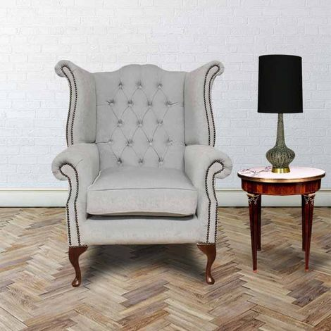 Chesterfield Fabric Queen Anne High Back Wing Chair Duck Egg Blue