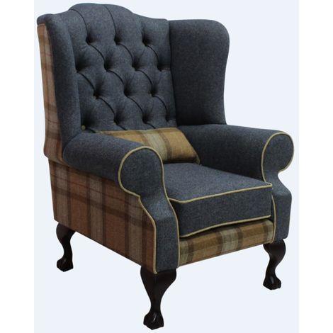 Chesterfield Frederick Wool Wing Chair Fireside High Back Armchair Skye Sage/Grey Check Tweed